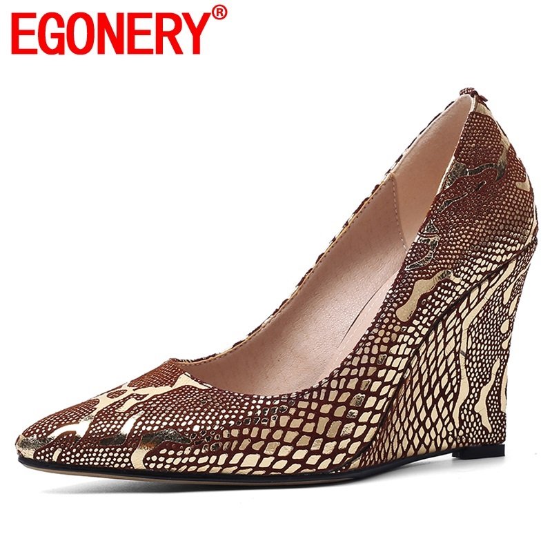 EGONERY 2020 Spring New Fashion Women Pumps Outside High Heels Pointed Toe Mixed Colors Sheepskin Women Shoes Drop Shipping