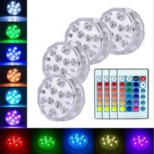 Luces LED sumergibles con Control remoto RGB, lámpara de tanque de peces con batería IP68, para decoración de jardín, piscina y Acuario