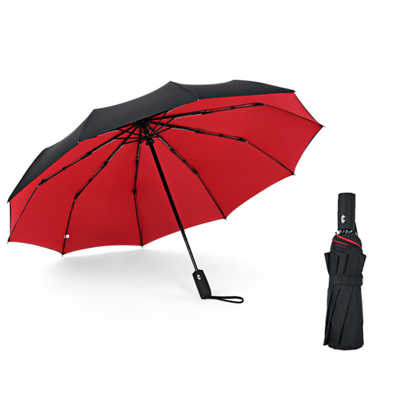 Three Folding Fully Automatic <font><b>Umbrella</b></font> Rain Women Auto Luxury Big <font><b>Windproof</b></font> <font><b>Golf</b></font> <font><b>Umbrellas</b></font> For Men Black 10Ribs Large Parasol image