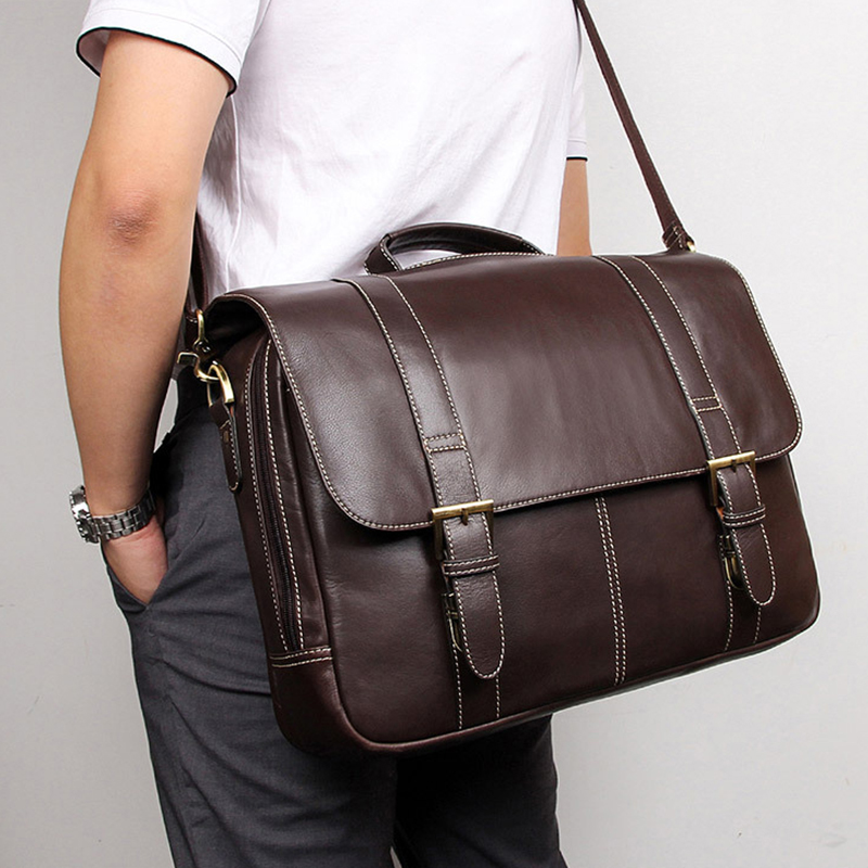 MAHEU Hight Quality Mens Briefcase Shoulder Bag Genuine Leather Handbags Formal Type Daily Commuter Bag For Man Real Cowskin Bag