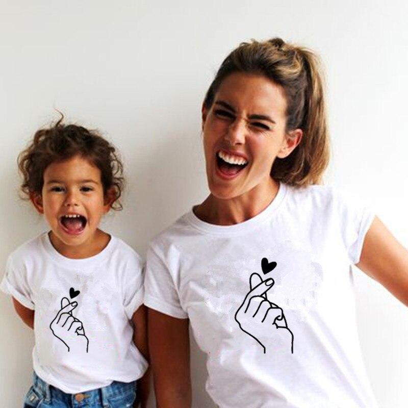 Новая семейная футболка с принтом Одежда «Мама и я» Семейные комплекты с короткими рукавами QT-1924 - Цвет: Прозрачный