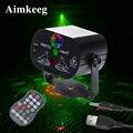 Светодиодный мини-лазерный сценический светильник, Рождественский светильник s DJ, диско-эффект, 60 режимов, дистанционное управление, USB, веч...