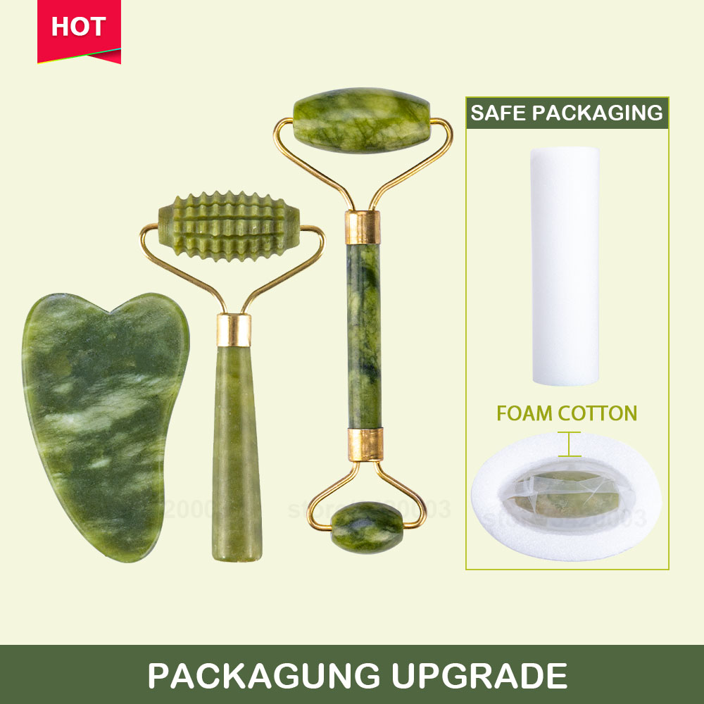 Massager For Face Jade Roller Facial Skin Care Tools Natural  Gouache Scraper Body Back Beauty Slimming Massagers Roller Set 2