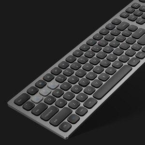 Image 1 - Alluminio senza fili della tastiera del metallo di 2.4Ghz & BT, 110 dispositivi a grandezza naturale di chiavi 3 che funzionano sincronicamente, tastiera del Desinger ergonomica