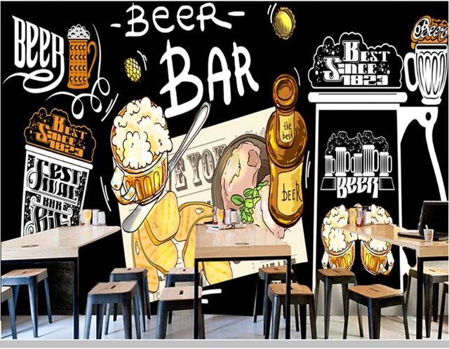 Papel de parede tableau noir bière bar restaurant fond mur nourriture 3d papier peint, bière maison cuisine murale