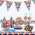 Лего блоков тема набор одноразовой посуды Бумага пластины чашки, ребенок, душ День рождения расходные материалы украшения для детской комн...