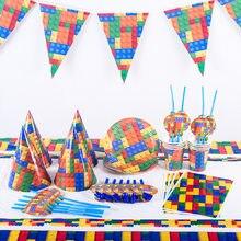 Lego blocos tema conjunto de utensílios de mesa descartáveis placas de papel copos chá de bebê festa de aniversário suprimentos decoração para crianças