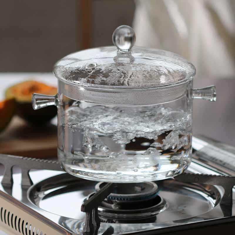 Api Akan Membakar Tahan Panas Kaca Pot Stew Pot Sup Poy Merebus Air Pot Borosilikat Pegangan Ganda Mangkuk Kaca mangkuk Salad