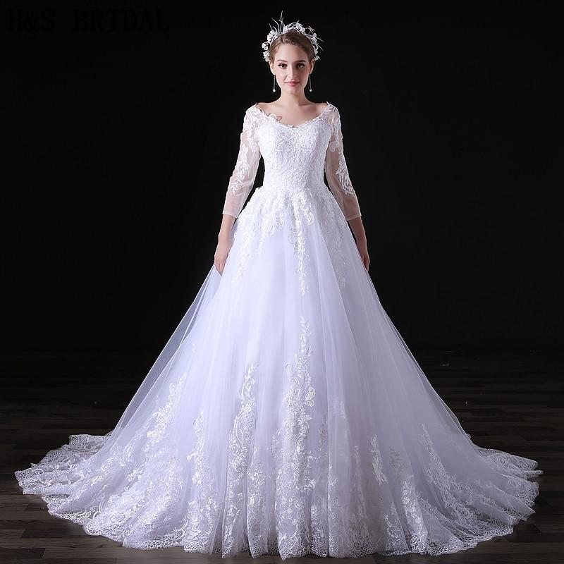 H&S BRIDAL Lace Tulle Ball Gown Wedding Dresses With Veil Full Sleeve Elegant Summer Bridal Dress Robe Mariee 2019 Boho Dentelle