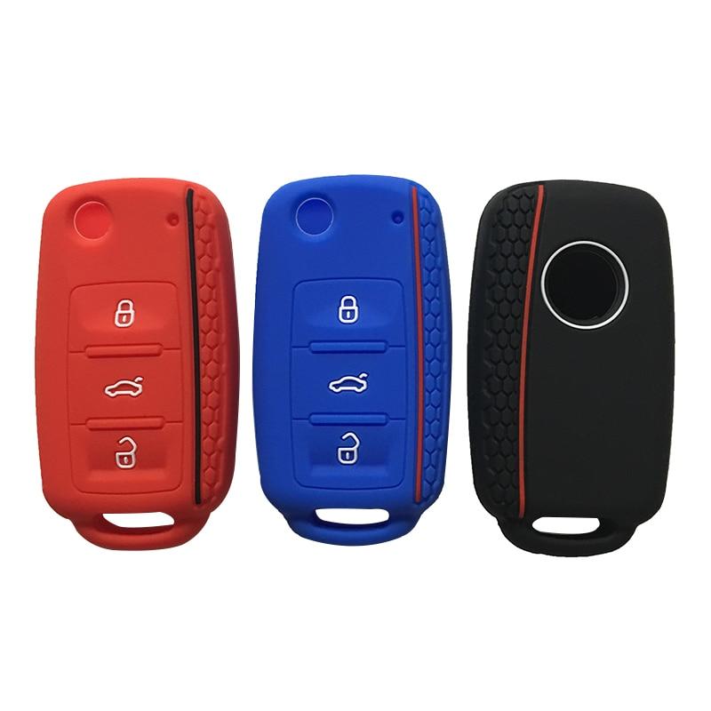 Couvercle de clé pour Volkswagen Golf Passat coccinelle Polo Bora 3 boutons clé à rabat porte-clés voiture porte-clés pour alarme porte-clés