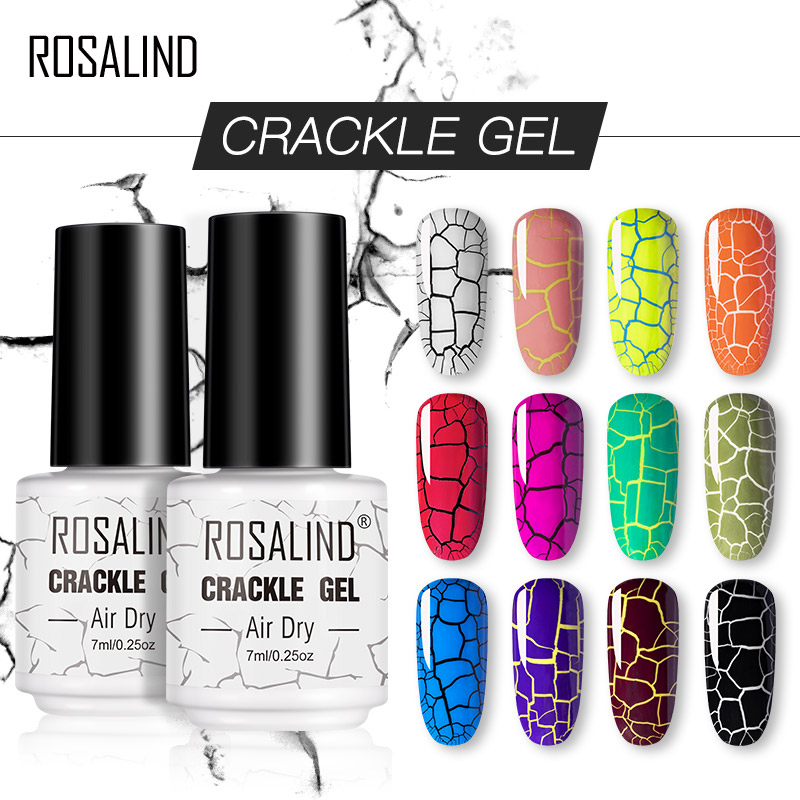 ROSALIND Crackle Gel Nail Polish Hybrid Lacquer Base Primer Of Nail Gel Set For Manicure UV Led Semi Permanent Base Top Coat