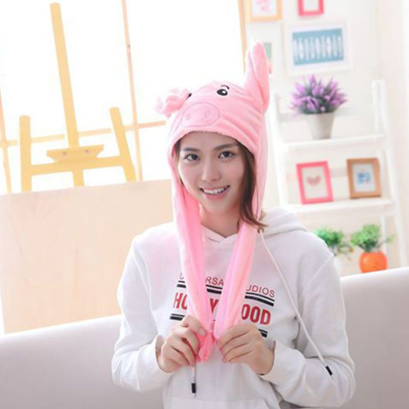 Novelty Halloween Pig Plush Earflap Hat Airbag Jumping Ears LED Light Flashing Stuffed Toy Cute Animal Beanie Cap For Adult Kids