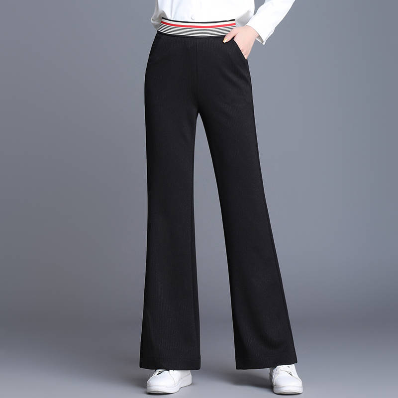 2020 new high waist   pants   black suit elastic   pants   women fashion sashes pockets office middle aged female Casual   Wide     Leg     pants