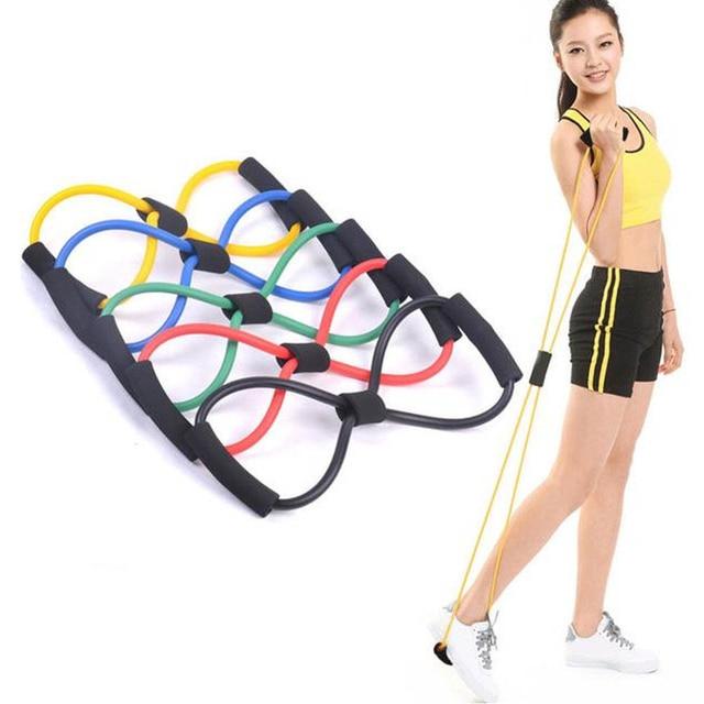 Home Sport Fitness Yoga 8 Shape Pull Rope Tube Equipment Fitness Belt Tool Gym Exercise send in random 1