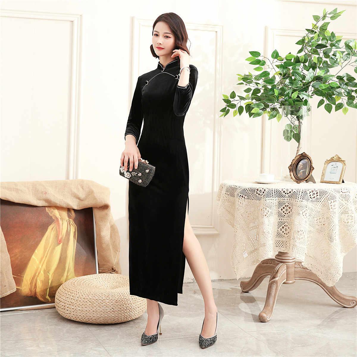上海ストーリー東洋のドレス中国の伝統的なドレスロングチャイナドレス長袖ベルベット袍女性の中国ドレス 3 色