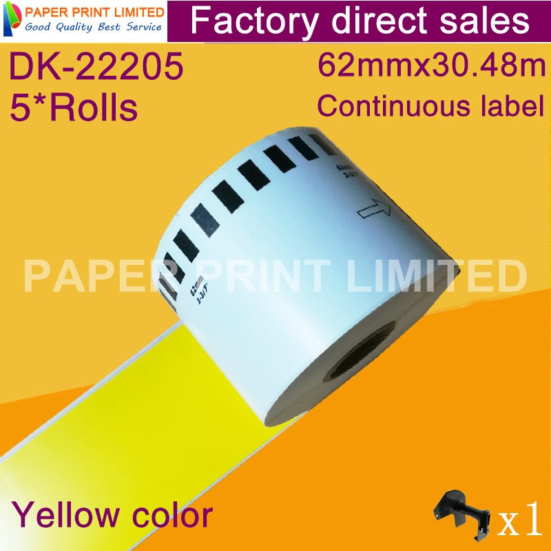 5 Rolls Yellow Brother Generic DK 44605 dk 22205 dk22205 yellow Label Continuous Compatible for  Label Printer  DK44605-in Printer Ribbons from Computer & Office on AliExpress - 11.11_Double 11_Singles' Day 1