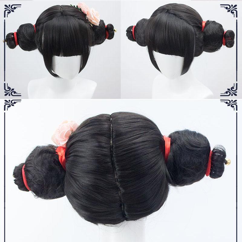 Lvhan White Snake Cartoon Character Cosplay Wigs Black Bangs Short
