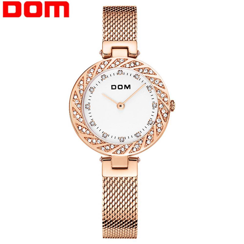 DOM Watch Women Top Brand Luxury Quartz Wrist Watch Casual Steel Mesh Belt Women Rose Gold Waterproof Watch Clock G-1279G-7M