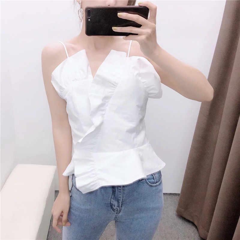 Wit Onregelmatige Plooi Ruches Sling Kiel Blouse Nieuwe 2020 Vrouwen Mode Dames Terug Elastische Shirt Elegante Poplin Blusas Tops