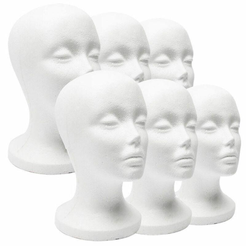 White Styrofoam Mannequin Foam Head Model Glasses Hat Wig Display Stand Female