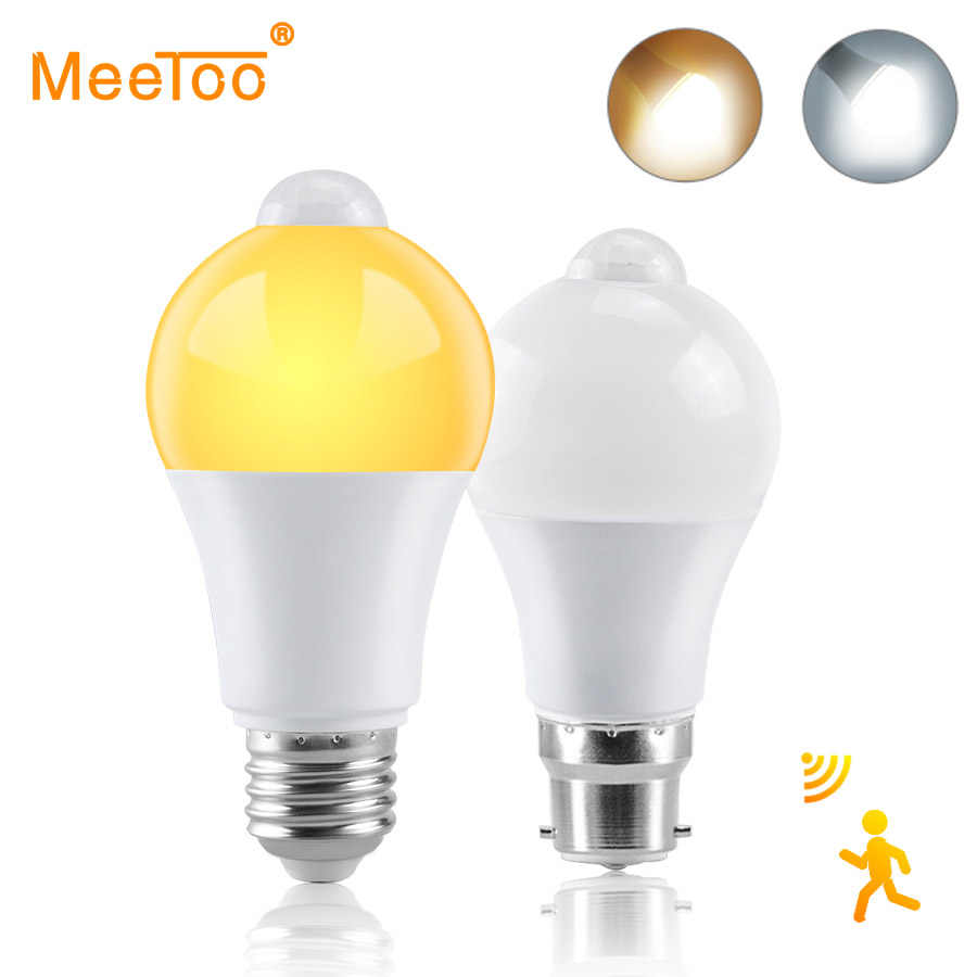 PIR Motion Sensor LED Lamp Bulb E27 B22 220V 110V Dusk to Dawn Light with Motion Sensor Smart Light Bulb 12W 15W 18W Night Light