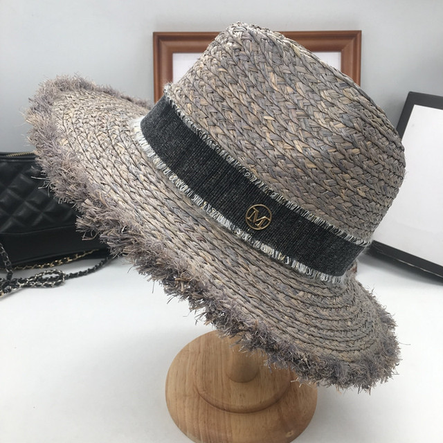 Sir Vacation seaside lafite grass hat sun hat foldable eaves beach cap gray