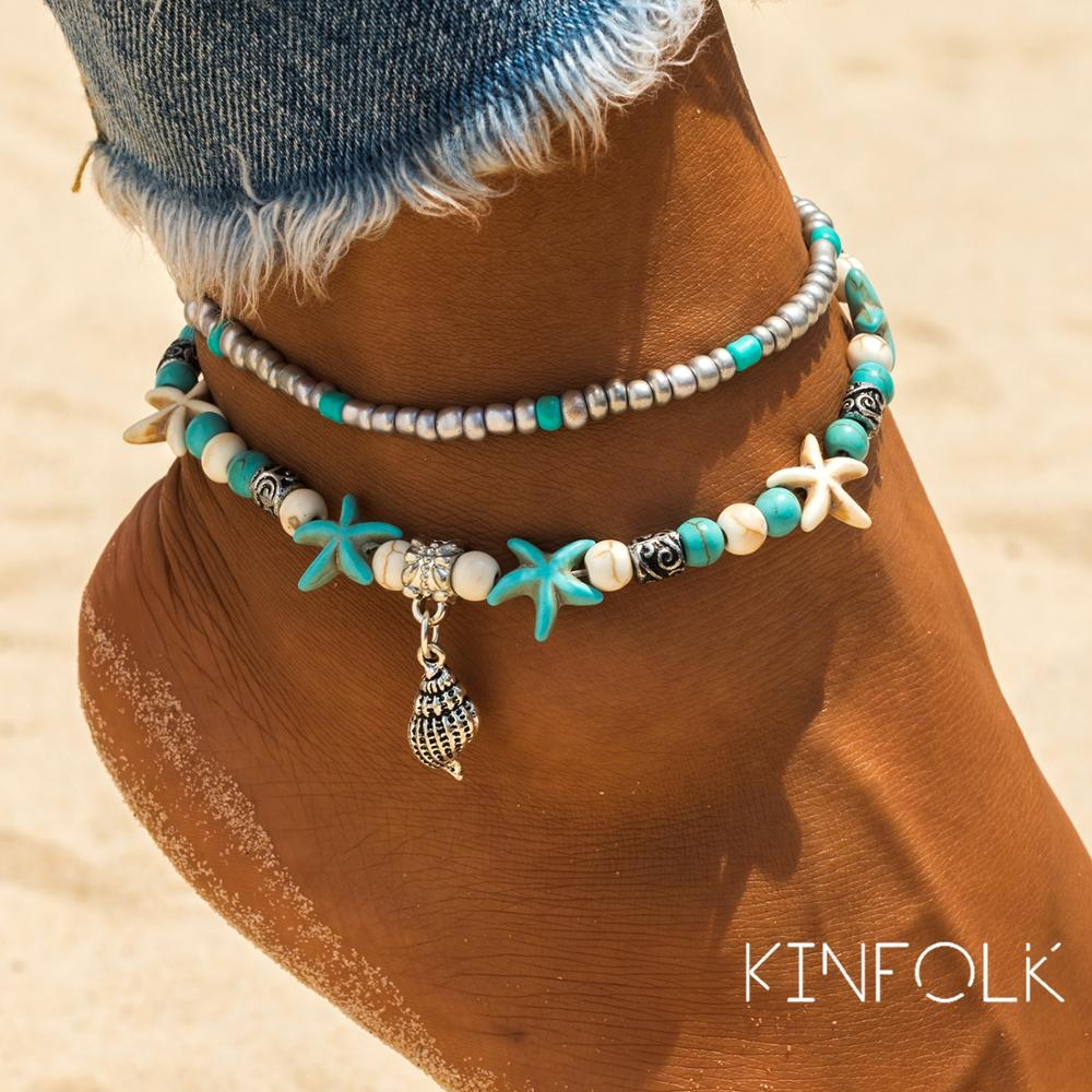 KINFOLK Vintage Shell Beads Starfish Anklets For Women 2020 Bracelet Foot Boho Jewelry Summer Beach Accessories Jewelry