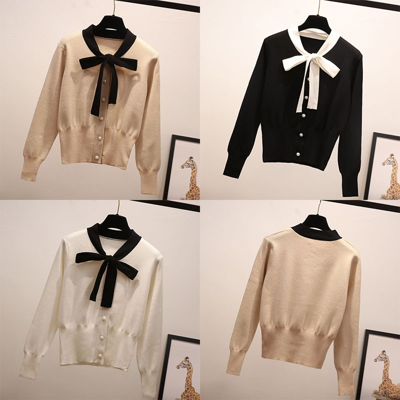 Autumn New Slim Solid Color Lace up Bow Thin  Fashion Sweet Long sleeved Women Knit Pullover Sweater Водолазки      АлиЭкспресс