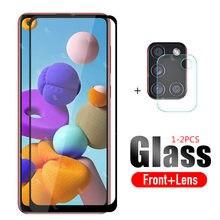 2 em 1 protetor de lente de vidro protetor de proteção para samsung a21s 2020 câmera para samsung galaxy a 21 s a21s 21 s a217f filme de vidro temperado