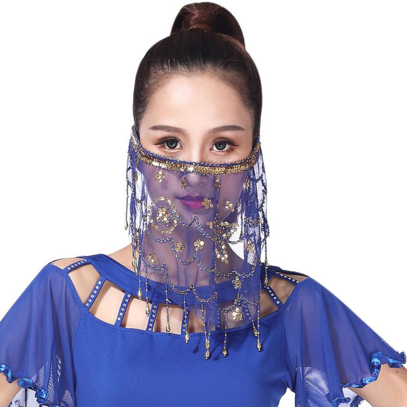 Women Belly Dance Tribal Mysterious Face Veil With Halloween Costume Accessory Sequins Performance Stage Use