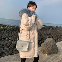 Fashion Winter Snow Hooded 4-color Cotton Coat Women 2019 Solid-color Casual Windproof Thick Warm Long-coat Elegant Loose Jacket