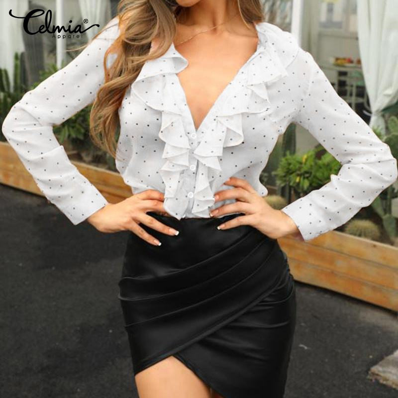 Summer Chiffon Shirts 2020 Celmia Women Ruffles Blouse Polka Dot Sexy Deep V-Neck Office Tops Long Sleeve See-through Blusas 5XL