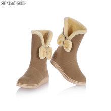 2020 zimowe ciepłe buty na śnieg płaskie buty kobieta buty do połowy łydki moda pluszowe futro aksamitne buty kobiece botki buty kobieta tanie tanio SHININGTHROUGH Flock Pasuje prawda na wymiar weź swój normalny rozmiar Okrągły nosek Zima Slip-on Stałe Mieszkanie z