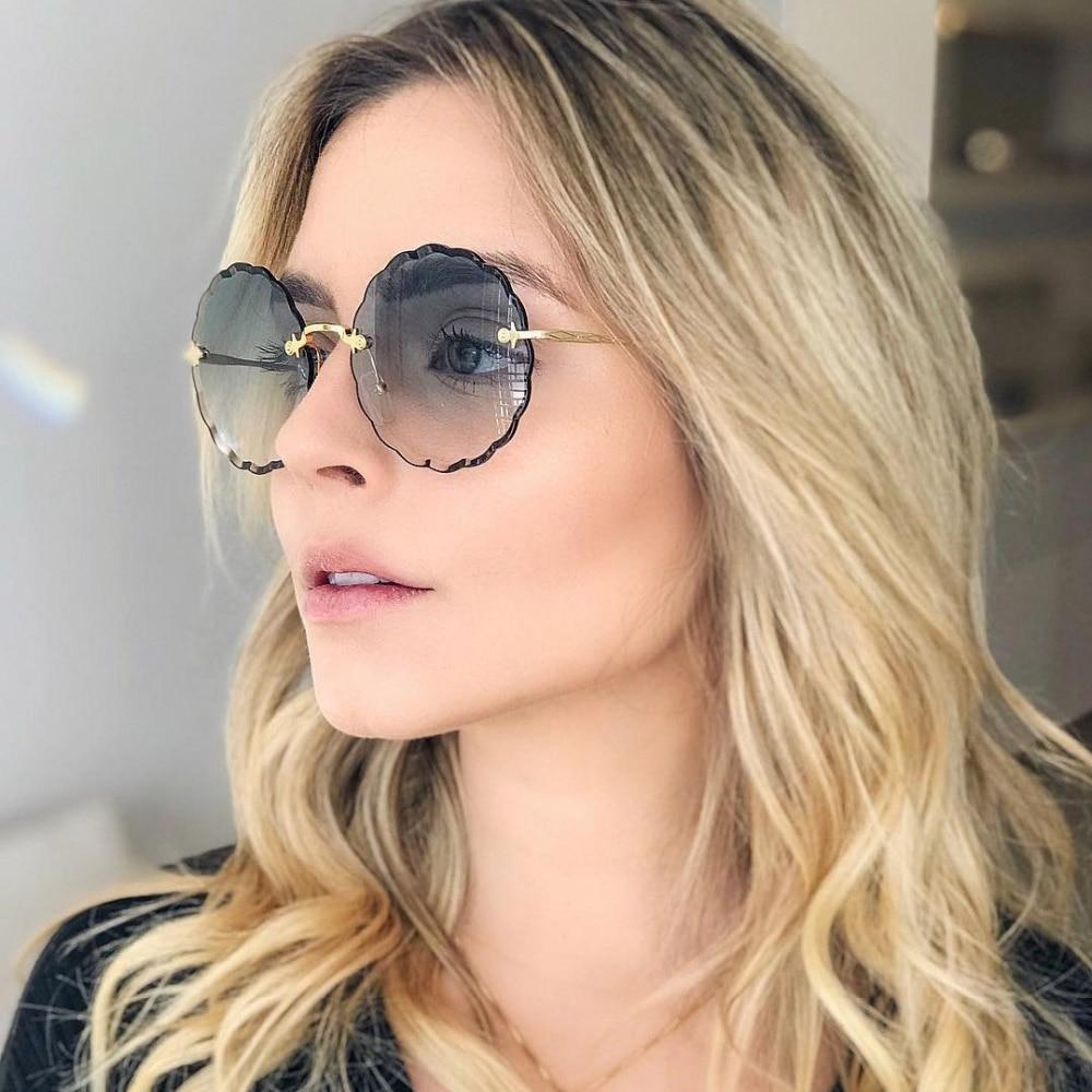 Luxury Round Sunglasses Women 2020 Vintage Brand Designer Rimless Shades Sun Glasses For Female Fashion Rosie Eyewear