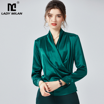 100% Pure Silk Women's Shirts Sexy V Neck Long Sleeves Criss Cross Elegant Fashion Blouse Shirt Top