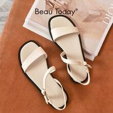 BeauToday sandały na płaskim obcasie kobiety prawdziwa skóra cielęca Gladiator pani pasek na lato przypadkowi buty dla kobiet Handmade 32182