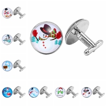 2019 Christmas Gifts Snowman Pattern Cufflinks Glass Dome Preferred Ornaments
