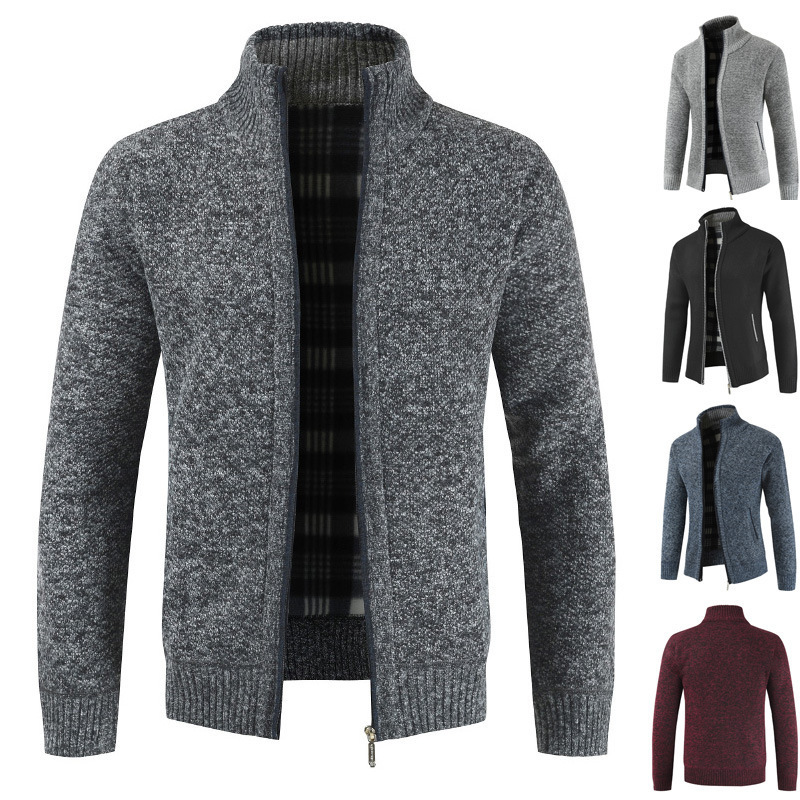 Winter Zipper Casual Sweater Pullover Men's Warm Knitwear Thicken Coat