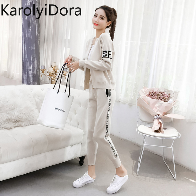 Women's suit 2020 Spring and autumn new fashion knit sweater sports suit women's cardigan thin casual pants 2 piece set women 2