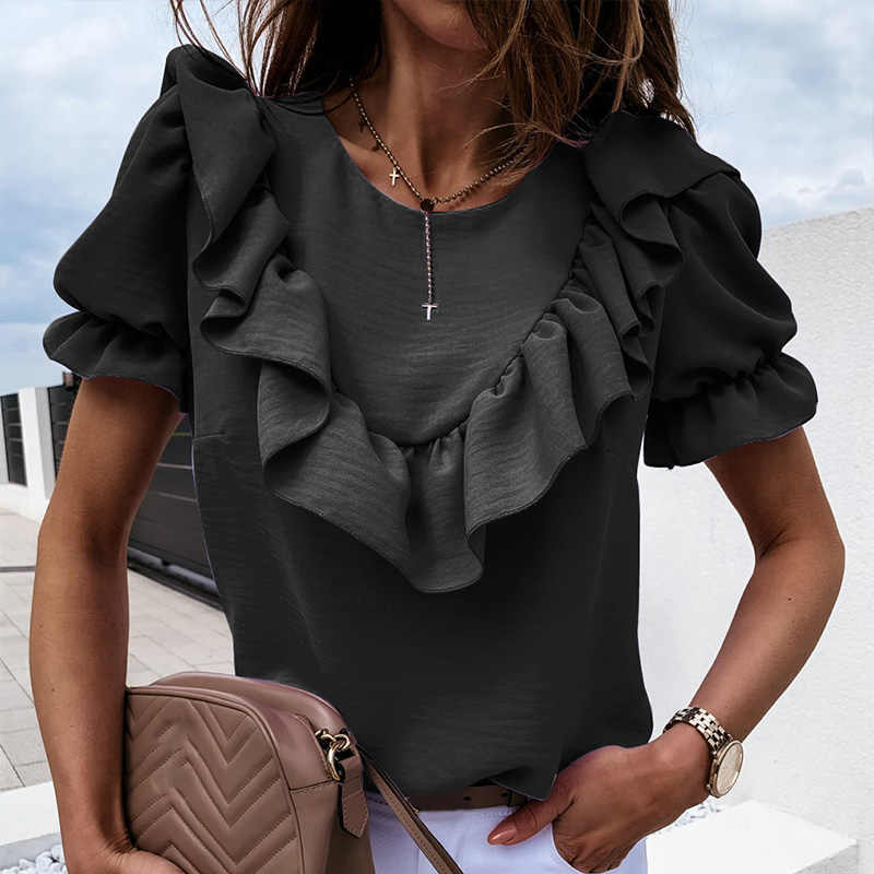 Ruffle 짧은 소매 여성 블라우스 o-목 솔리드 캐주얼 여름 해변 블라우스 숙녀 2020 패션 우아한 느슨한 사무실 레이디 탑스