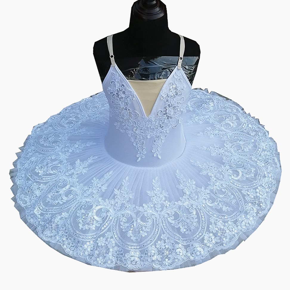 2019 New Children Tutu Ballet Platter Skirts Lace Sequined White Swan Lake Show Belly Dance Performance Costume