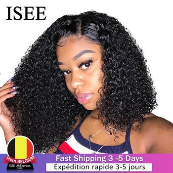 ISEE HAIR Curly Bob koronkowa peruka na przód s dla kobiet perwersyjne kręcone koronkowa peruka na przód 360 koronkowa peruka z przodu brazylijski kręcone ludzkie włosy peruki tanie i dobre opinie Krótki Koronki przodu peruk 360 Koronki Przednie Peruki Koronki zamknięcie peruka CN (pochodzenie) Remy włosy Pół maszyny wykonane i pół ręcznie wiązanej