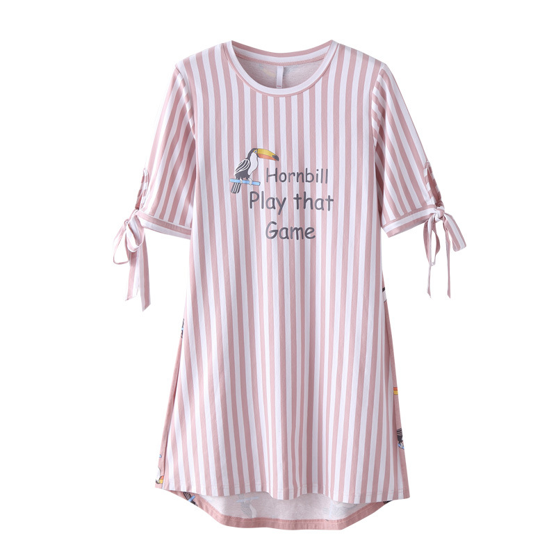 Nightgown   Cotton Lingerie Sleepwear Summer Short Sleeves Pullover   Sleepshirts   Pink Striped Bird Printing 100% Cotton Night Dress