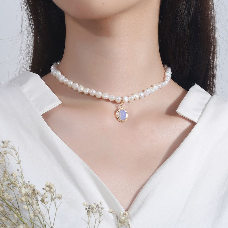 Image 2 - Silvology Natural Pearl Moonstone Womens Necklace 925 Sterling Silver Gold Elegant Luxurious Pendant Necklace Friendship Jewelry-in Necklaces from Jewelry & Accessories
