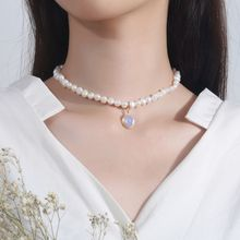 Silvology Natural Pearl Moonstone Womens Necklace 925 Sterling Silver Gold Elegant Luxurious Pendant Necklace Friendship Jewelry