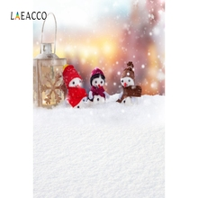 Laeacco White Snow Photographic Backgrounds Snowman Baby Portrait Christmas Winter Photography Backdrops For The Photo Studio цена