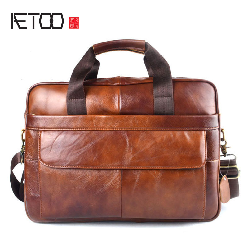 AETOO Genuine Leather Real Leather Laptop Bag Business Handbags Cowhide Men Crossbody Bag Men's Travel Brown Leather Briefcase