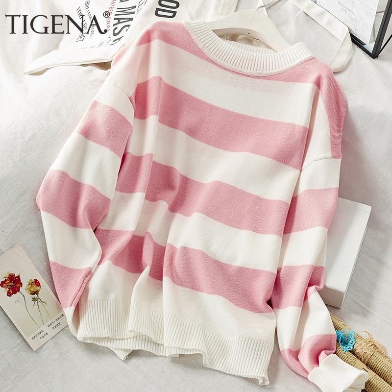 TIGENA Contrast Color Loose Striped Sweater Women Jumper 2019 Fall Winter Korean Kawaii Cute Pullover Sweater Female Pink Blue