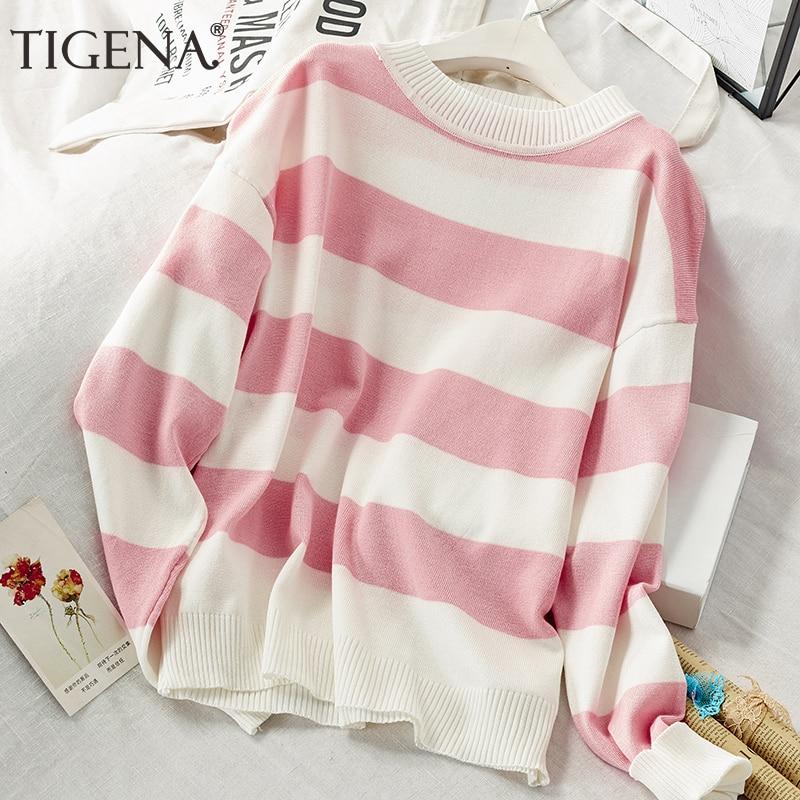 TIGENA Contrast Color Loose Striped Sweater Women Jumper 2019 Fall Winter Korean Kawaii Cute Pullover Sweater Female Pink Blue