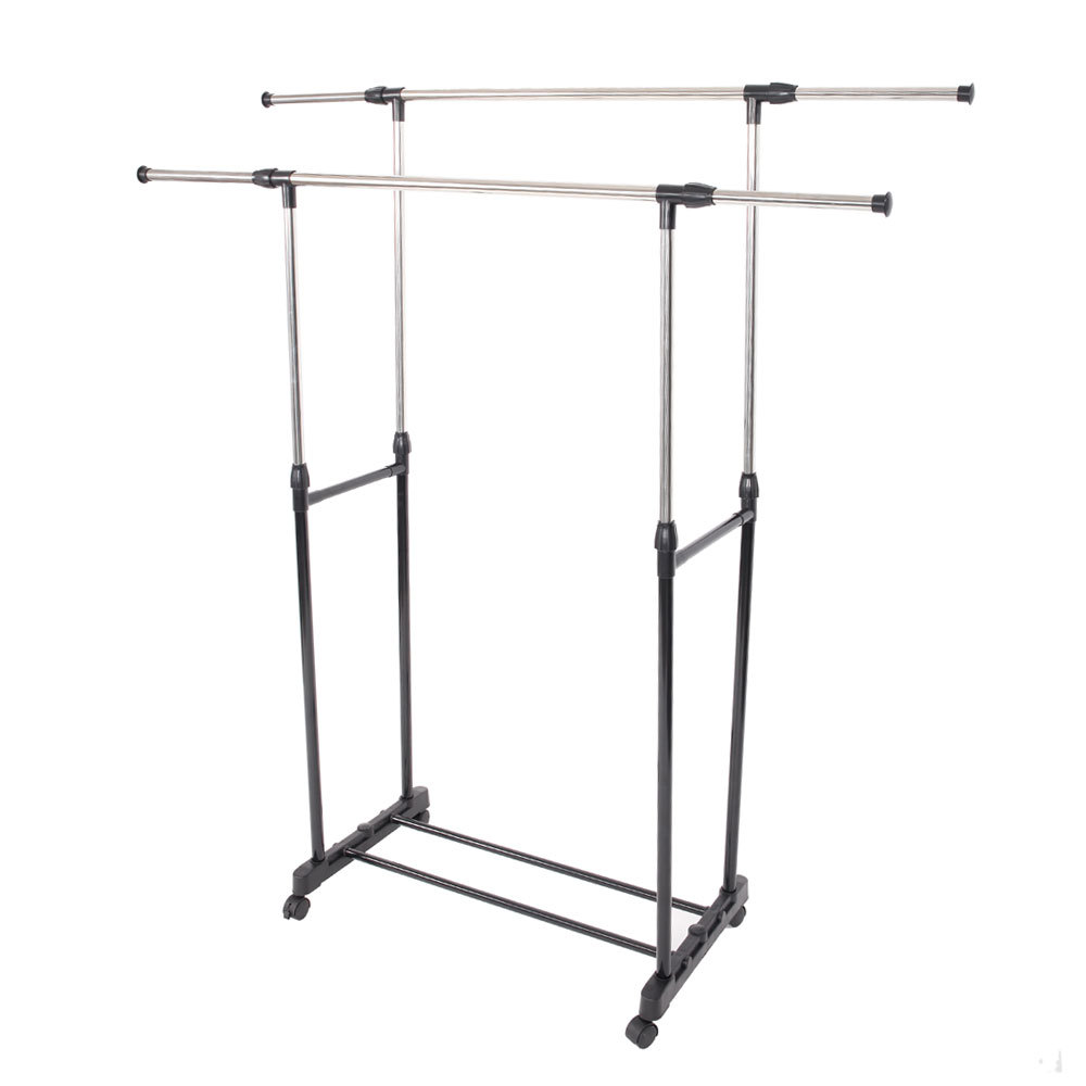 Simple Stretching Clothes Hanger Movable Assembled Coat Rack Stand With Shoe Shelf Adjustable Clothing Closet Bedroom Furniture